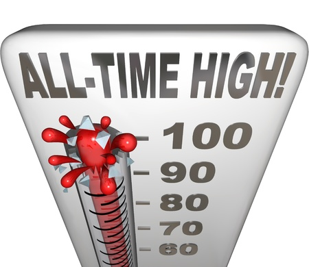 memorable: All-Time High words on a thermometer illustrating increasing heat or score to be the highest on record