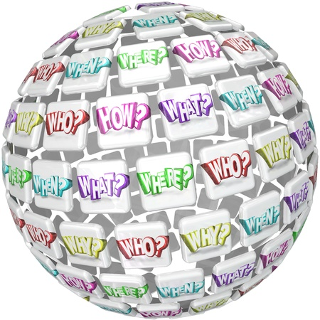 where: A ball or sphere with tiles containing the questions Who What Where When Why and How to illustrate a search for answers or doing research for a study or survey Stock Photo