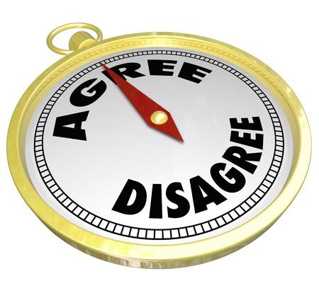 osiągnął: Porozumienia, jak złote punkty kompas do słowa Zgadzam się z dala od nie zgadzam się, aby zilustrować konsensusu pomiędzy stronami lub zespołów w negocjacjach lub wyboru