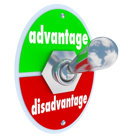 edge: The words Advantage and Disadvantage on a toggle switch or lever to illustrate the difference or unique edge in a competition or marketplace with many choices Stock Photo
