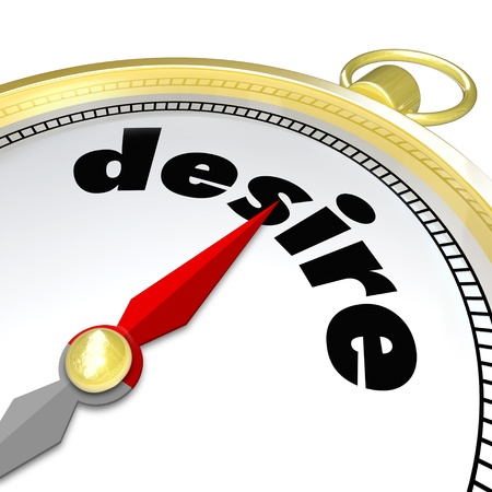 guilty pleasures: The word Desire on a gold compass leading you to what you are passionate about, your wants and needs Stock Photo