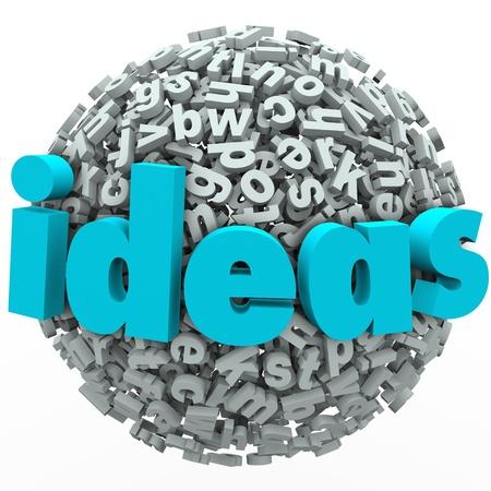 disciplina: Una bola o esfera de las letras y las palabras Ideas para ilustrar la creatividad, la imaginación, la lluvia de ideas y pensando en una solución o un nuevo enfoque innovador