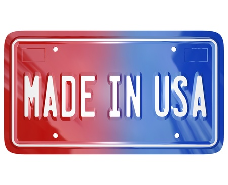 A red white and blue vanity license plate with the words Made in USA to illustrate pride in an American built vehicle or product photo