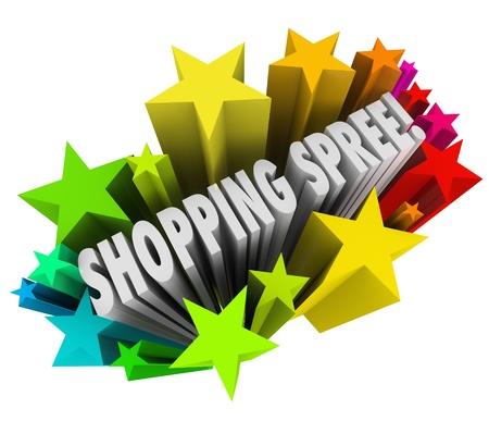 manic: Le parole Shopping Spree in uno scoppio colorato di stelle o fuochi d'artificio come premio lotteria o vincitore in un concorso