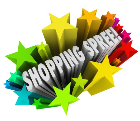 shopping spree: The words Shopping Spree in a colorful burst of stars or fireworks as a sweepstakes prize or winning entry in a contest