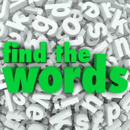 search result: Find the Words in green letters on a background of letter tiles in a jumble or word search puzzle