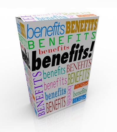unique characteristics: The word Benefits on a product box or package to illustrate the advantage or special uniqe qualities of your goods or service Stock Photo