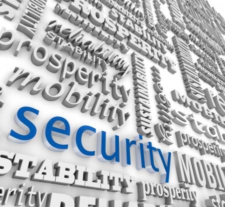 La palabra de Seguridad en letras 3d en un collage de la pared de fondo con otras palabras como la estabilidad, la movilidad, la sostenibilidad, la prosperidad y la fiabilidad