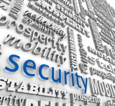 The word Security in 3d letters on a background wall collage with other words like stability, mobility, sustainability, prosperity and reliability Stock Photo - 20412928