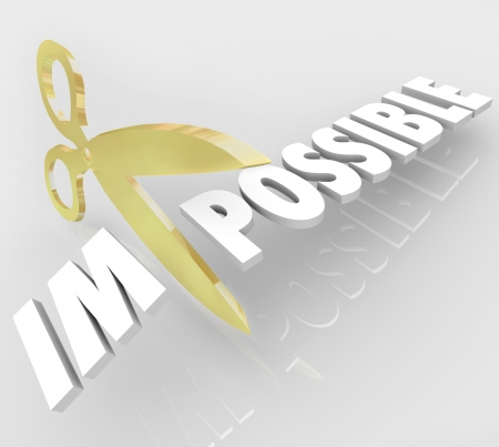 A pair of gold scissors cuts the word Impossible to change it to Possible to illustrate opportunity and positive attitude Stock Photo
