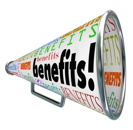 The word Benefits on a bullhorn or megaphone to illustrate features and beneficial qualities of a job, compensation plan or product