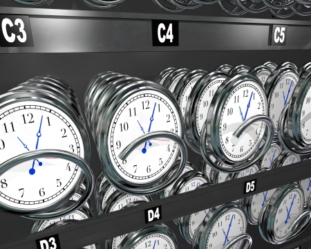 timeless: Many clocks in a vending machine to illustrate the importance and fleeting nature of time and the desire to buy more and make a moment last longer
