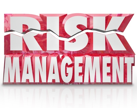 The words Risk Management in red 3d letters to illustrate the need to minimize liability and increase security and safety for your home, family, organization or workplace Reklamní fotografie - 20412968