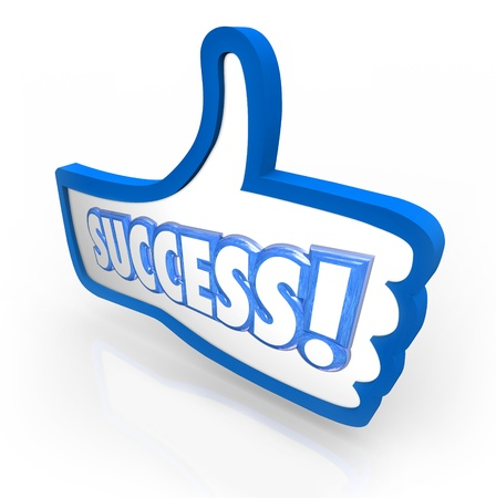 The word Success in a blue thumbs up symbol to illustrate you like a product, company or service and offering feedback, review or rating