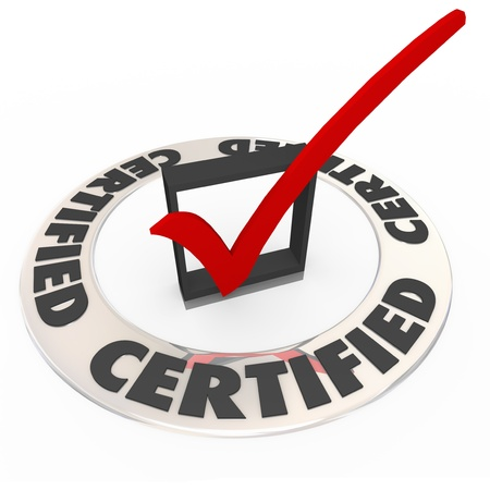 certify: A ring with the word Certified and a red check mark in a box to illustrate the product or company has been approved, accredited, confirmed or licensed as an official service