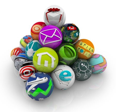 functions: Many mobile apps and software programs illustrated by spheres in a pyramid shape to symbolize an app store marketplace for downloading games and utilities to your smart phone or tablet computer Stock Photo