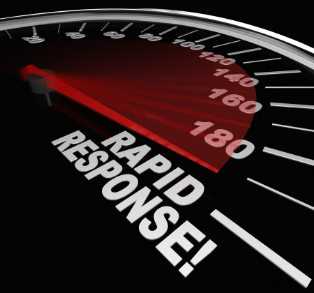 rapid: The words Rapid Response on a speedometer with needle racing to illustrate fast service and arrival of help and assistance in a crisis