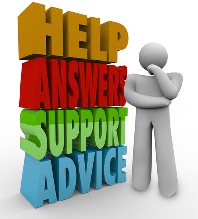 persona confundida: Un hombre de pensamiento se encuentra confundido y perdido al lado de las palabras Ayuda, respuestas, apoyo y asesoramiento a la espera de que alguien le ayude en su pregunta