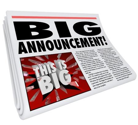 Een grote aankondiging als een kop op een krant met een foto van woorden door te breken glas lezen Dit is Big