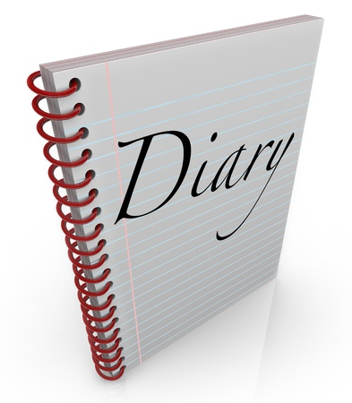 A spiral bound notebook of lined paper with the word Diary on the cover to contain memories, thoughts and dreams Stock Photo - 20621805