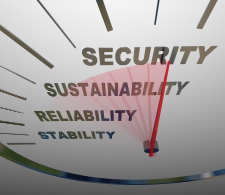 sustain: A speedometer with the words Security, Sustainability, Reliability and Stability to illustrate financial increases in income for retirement or economic savings