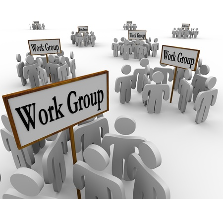 inform information: Many groups of workers gathered in teams around signs with the words Work Group to illustrate collaborative working in teams in a company or organization