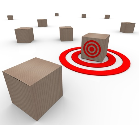 Many cardboard boxes of products with one targeted as a special selection or best choice Stock Photo - 20621955