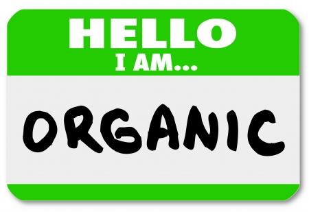 hormonen: Een groene naamplaatje sticker met de woorden: Hallo ik ben Bio in natuurlijke voedselbronnen en opties vrij van pesticiden en groeihormonen illustreren Stockfoto