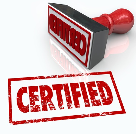 accredited: A red stamp gives you the seal of approval for offical verification of your document, company or product