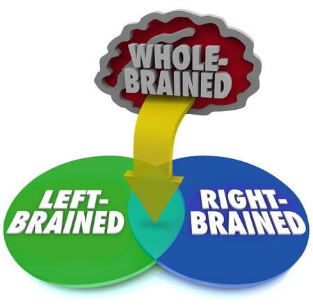 brain shape: Are you left or right brained or is neither side dominant?  The answer is illustrated by this venn diagram with arrow pointing to the intersection with the words Whole Brained above it