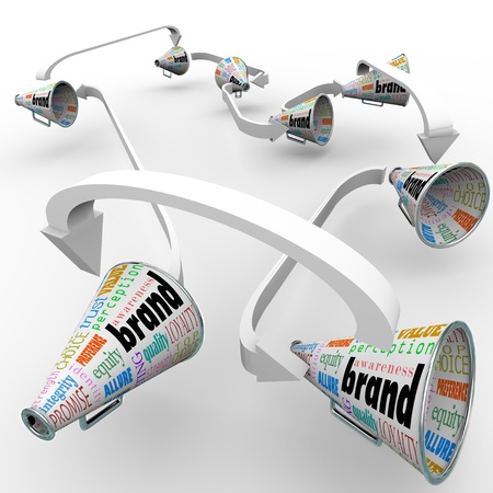 advertiser: Several bullhorns or megaphones with the word Brand to spread the word and build buzz for your companys reputation or business Stock Photo