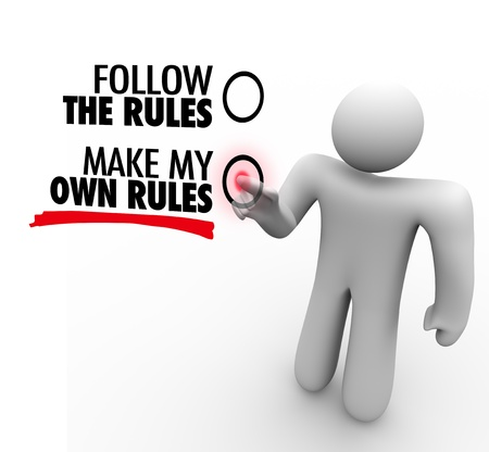 The words Follow the Rules and Make My Own Rules on a touch screen and a person choosing independence and freedom Stock Photo - 20622181