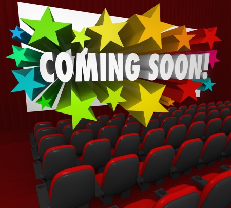 movie screen: A movie theatre of red chairs and a screen with the words Coming Soon in 3d letters surrounded by colorful stars Stock Photo