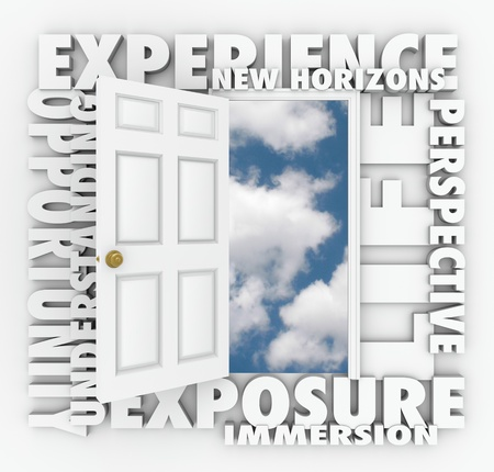 immersion: A door opens to expose a clear blue sky of opportunity with the words Exposure, New Horizons, Exposure, Immersion, Understanding, Perspective and Life Stock Photo