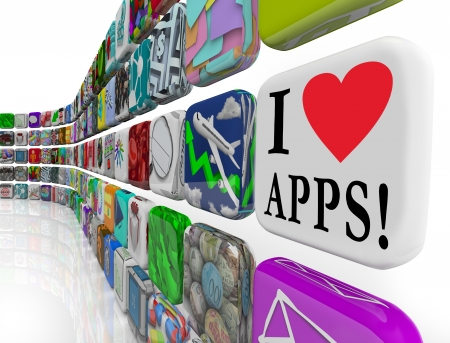 I Love (heart symbol) Apps on an application software tile icon in a wall of app programs you can download for your smart phone or tablet Stock Photo - 20622191