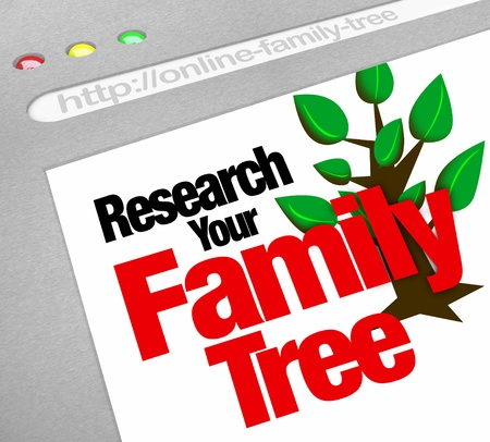 forefathers: An online database for researching your family tree and heritage on a website library of historical records Stock Photo