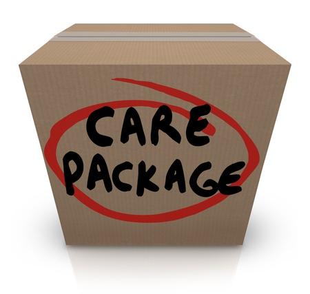 Le paquet de soins des mots sur une boîte en carton pour illustrer fournitures soutien, aide, assistance et secours à une victime d'une crise Banque d'images - 20622310