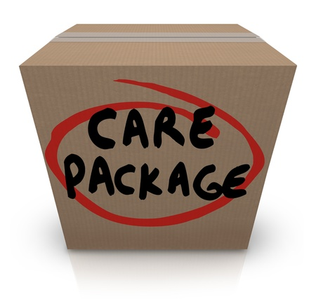 package sending: The words Care Package on a cardboard box to illustrate support, aid, assistance and emergency supplies for a victim of a crisis Stock Photo