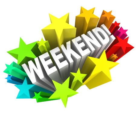 The word Weekend in a colorful starburst to illustrate the excitement of the end of the week, on the days Saturday and Sunday Stock Photo - 20622312