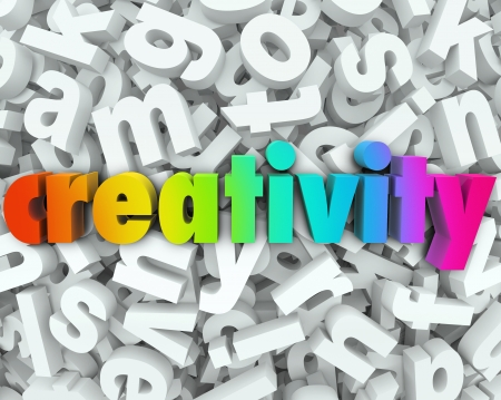 narrative: The word Creativity in colorful 3d letters on a background of white letters to illustrate creative thinking, brainstorming and imagination to solve a problem or be innovative Stock Photo