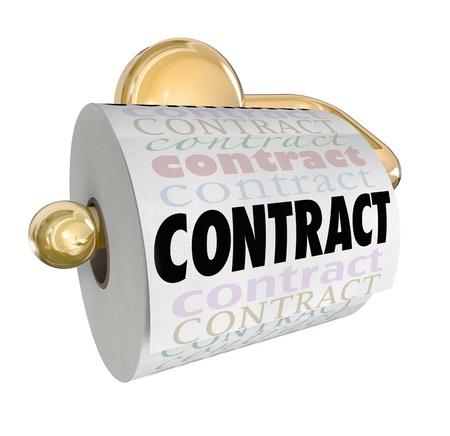 pacto: Un rollo de papel higi�nico con la palabra contrato para ilustrar un acuerdo o pacto que ha sido declarado nulo, anulado, null, rotas o no v�lido Foto de archivo