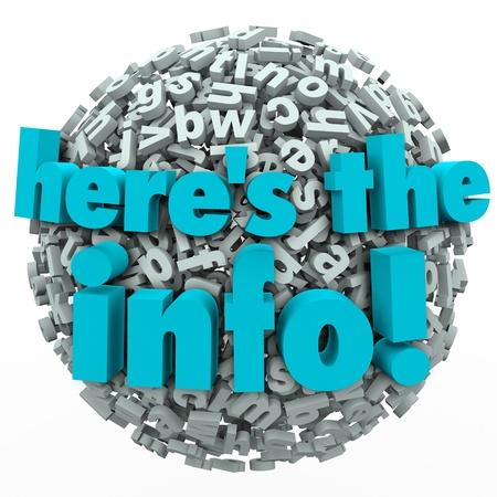 De woorden Hier is de info op een bol van brieven aan de presentatie van de informatie te illustreren, gegevens, feiten en resultaten van onderzoek of een studie