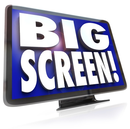 A large screen HDTV television with the words Big Screen on the screen, monitor or display to illustrate viewing options for home entertainment