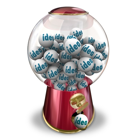 dispensing: The word Idea on gumballs in a machine dispensing innovative thoughts, creativity, imagination and thoughts Stock Photo