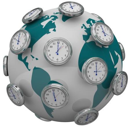 国際のタイム ゾーンの説明し、変更時間の旅行を世界中の多くの時計 写真素材