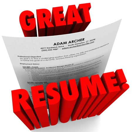 interviewing: The words Great Resume and a document with all the necessary things to include such as educaiton, experience, sills, objective and more