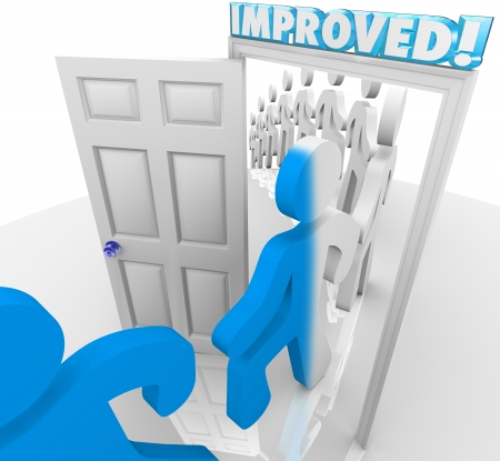 improved: People marching through the doorway marked Improved to illustrate change and self help to reach a goal or personal milestone