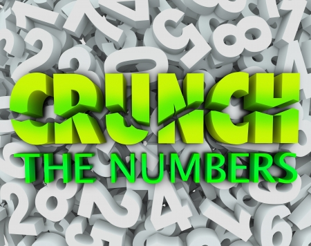 The words Crunch the Numbers on a background of digits to illustrate accounting, budgeting, doing math, and working with money Banco de Imagens