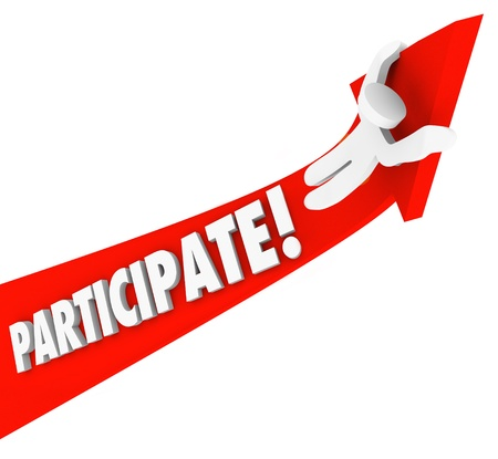The word participate on a red arrow and a person riding up to illustrate joining a club, association or group to build skills, collaborate, experience teamwork  Banco de Imagens