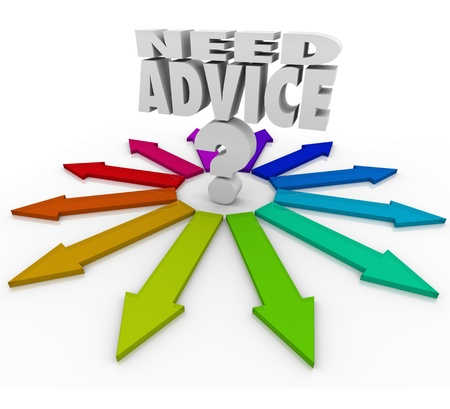 best guide: The words Need Advice and a question mark over several colored arrows to illustrate needing help in choosing your new direction Stock Photo